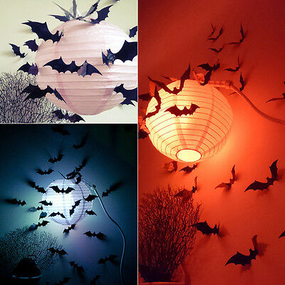 12Stk Fledermaus 3D PVC Schwarz Bat Set DIY Wandaufkleber Sticker Halloween Deko