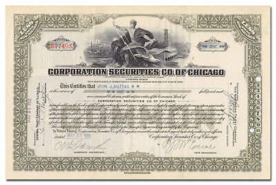 Corporation Securities Co. of Chicago Stock Certificate (Insull Empire)