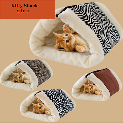 Kitty Shack 2In1 Pet Tunnel Bed&Mat Cat/Dog Portable Hot&Warm Multi Colors 90*57
