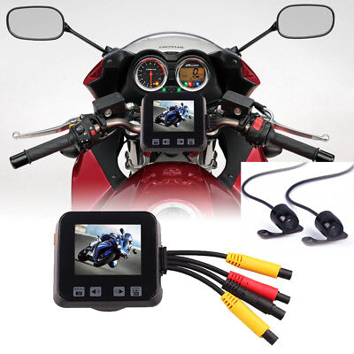 HD Dual Motorcycle Camera Video Recorder Kit Front+Rear Lens DVR Universal IP57