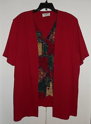Alfred Dunner One Piece Short Sleeve Red Jacket And Blouse Combo Size 20W