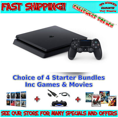 PS4 500GB SLIM CONSOLE | Pick your Starter Bundle with Games Movies Playstation