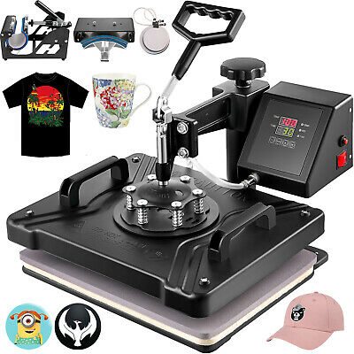 5in1 Heat Press Machine Swing Away Digital Sublimation T-shirt Mug Plate Hat