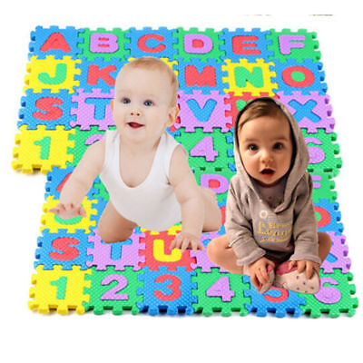 36Pcs Baby Kids Educational Alphanumeric Puzzle Mats Small Size Child Toy Gift K