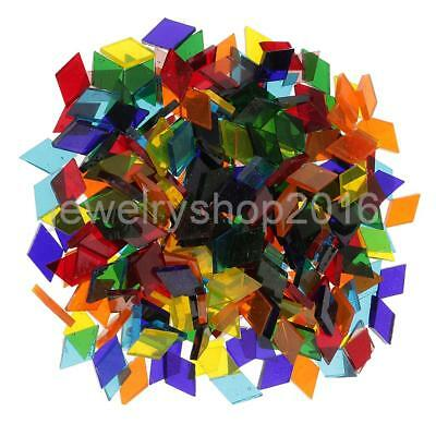 250x Mixed Color Clear Rhombus Glass Mosaic Tiles Pieces for DIY Craft 11mm
