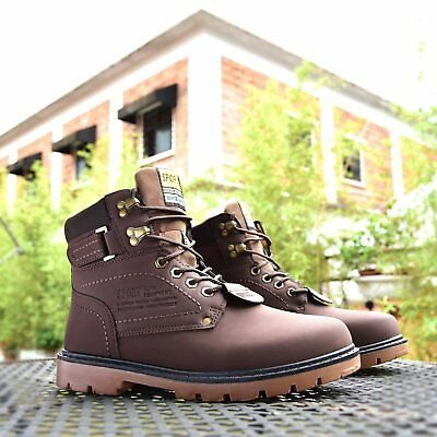 Mens Waterproof Leather Hiking Working Ankle Boots Lace Up Snow Boot Shoes