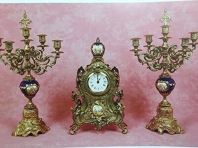 C988 Triple Clock With Cycling Bronze Limoges Baroque Style