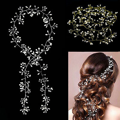 1/1.5M Pearls Wedding Hair Vine Crystal Bridal Accessories Diamante Headpiece AU