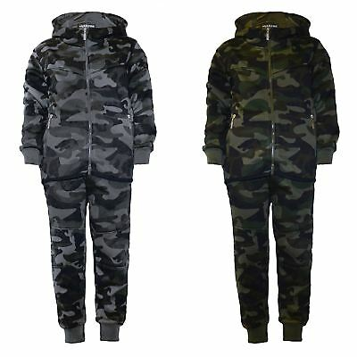 Kids Teen Camo Tracksuit Jogging Running Army Military Suit 2-Piece Set 3-14 Y