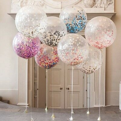 """Confetti Filled Balloons Large 36"""" Helium Quality Home Party Decorations Wedding"""