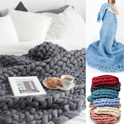 Large Luxury Hand Chunky Knitted Mink Warm Throw Over Bed Soft Blanket Bedspread
