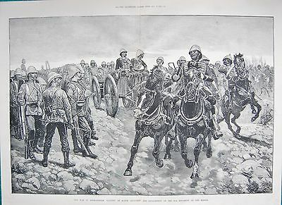 1880 ANTIQUE PRINT- AFGHAN WAR-BATTERY OF HORSE ARTILLERY AND 66th REGIMENT