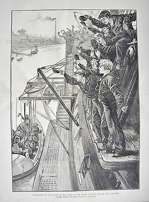 1880 Antique Print- Presentation Of Lifeboatby Cadets Of Thames Nautical College