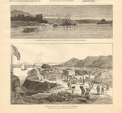 1884 Antique Print-Nile Expedition-Shelal, General View Of Korosko