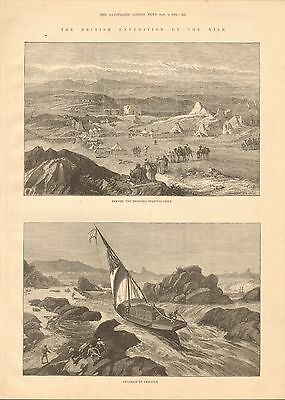 1884 Antique Print-Nile Expedition-Samneh, Cataract Of Ambigole