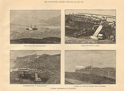 1884 Antique Print- Gunnery Experiments At Inchkeith