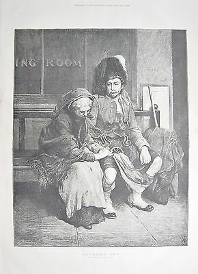 1884 Antique Print- Art-Ordered Off, By Frank Holl, Soldier Leaving