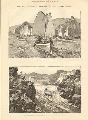 1884 Antique Print-Nile Expedition- Leaving Sarras For Dal, Hauling Whale Boats