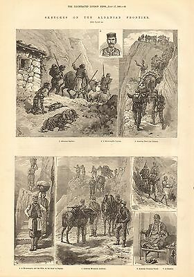 1880 Antique Print-Sketches On The Albanian Frontier