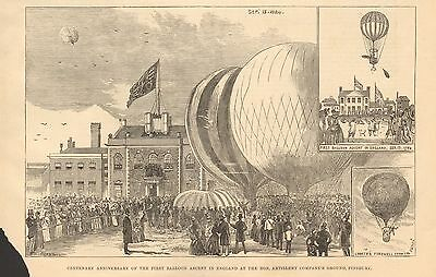 1884 Antique Print- Centenary Of First Balloon Ascent In England
