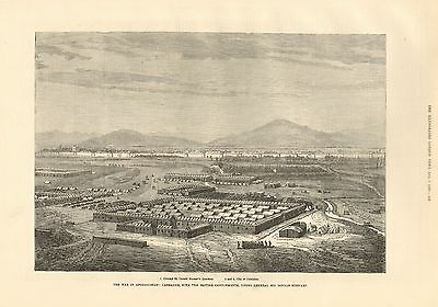 1880 Antique Print-Afghan War- Candahar With The British Cantonments
