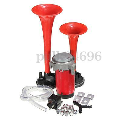 Super Loud Dual Trumpet Air Horn Compressor Kit 12V 135DB Car Truck Boat Van AU