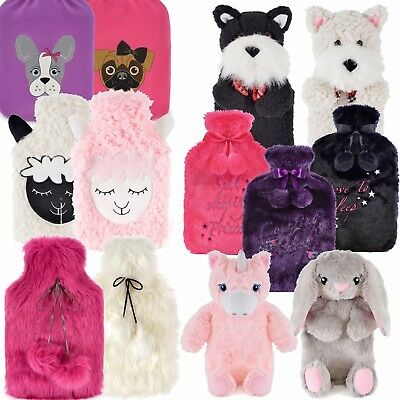 Large 2 Litre Hot Water Bottle , Removable Fleece Faux Fur Novelty Animal Cover
