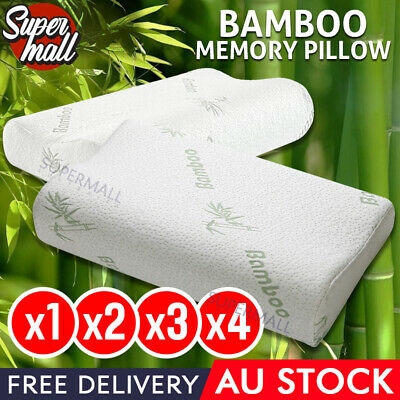 Lot 2 Bamboo Contour Pillow Memory Foam Fabric Fibre Cover Vertebra Care 50x30cm