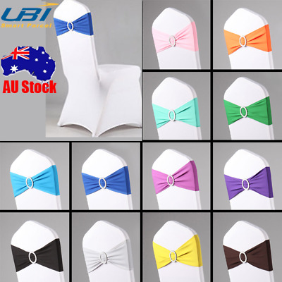 50pcs Spandex Stretch Wedding Party Chair Cover Band Sashes w/Buckle Bow Slider