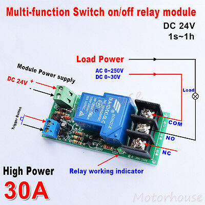 DC 24v High Power Delay Timer on/off Relay Control Switch  Module Button Trigger