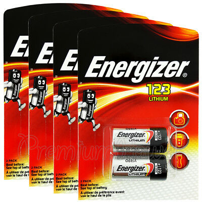 8 x Energizer Lithium CR123 batteries 3V 123A CR17345 EL123 Camera Pack of 2