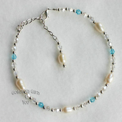 Freshwater Pearl Something Blue Bride Bridal Wedding Anklet Ankle Bracelet