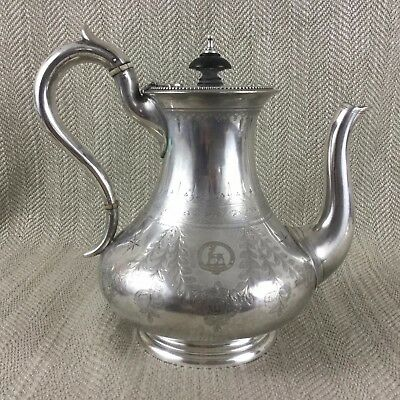 Antique Victorian Jug Silver Plated Elkington & Co Armorial Family Crest 1870
