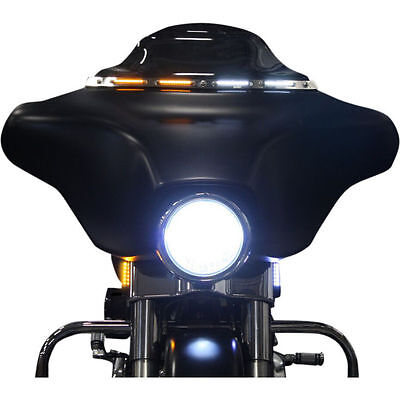 Custom Dynamics Black Amber White LED Lighted DLR Windshield Trim Harley FLH 14+