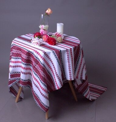 Decorative Ukrainian Tablecloth ornament valentine's decor White black Red