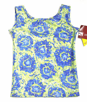 New Gymnastics Tank Top Mondor Light green with blue flowers size 8-10 CM