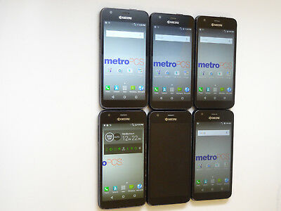Lot of 6 Kyocera Hydro Wave MetroPCS Smartphones 5 Power On Good LCD AS-IS GSM