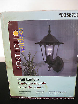 Portfolio Outdoor Wall Lantern #0356736, New in Box, Damage to Outside of Box