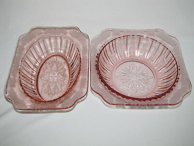 2 Jeannette Jeanette Glass Adam Bowls Pink Depression Glass