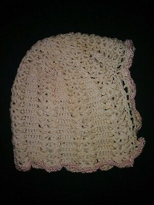 Antique Vintage Baby Doll Bonnet 1930s 1940s Christening Cap Crochet Knit Hat