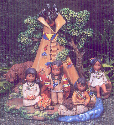 Ceramic Bisque Native American Teepee Scene with Children U-Paint Indian