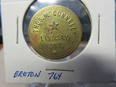 Thos. McConnell Lindsay Ont Good For .05 Store card Brass 25mm Breton-764