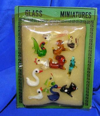 "1960S VTG PKG W 12 TEENY MINIATURE BLOWN GLASS ANIMALS, GRT XMAS PUTZ 1/2"" to 1"""