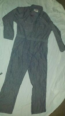 Vintage Herringbone Cleveland Work Wear Coveralls Donut Hole Buttons Size 48