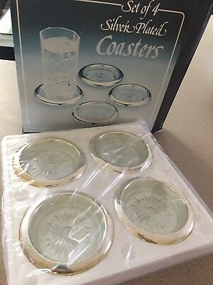 Set of 4 Silver-Plate Glass Coasters  in original box-vintage