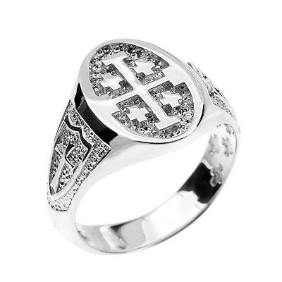 Sterling Silver Jerusalem Crusaders Cross Oval Unisex Ring