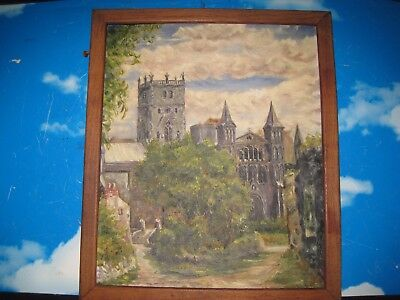 Vintage Oil Painting on Board of a Church