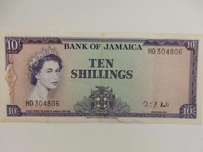RARE 1960 Bank of Jamaica, Ten Shillings Banknote, Roman,  #B49