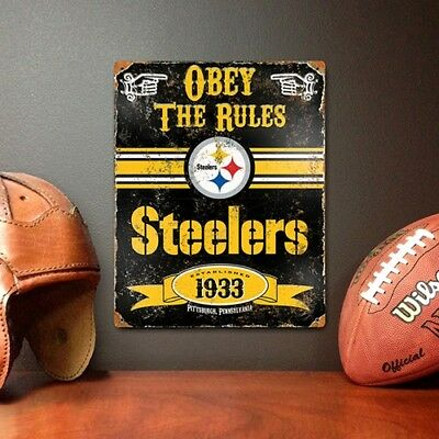 NFL Vintage Metal Sign 11.5 x 14.5  Pittsburgh Steelers