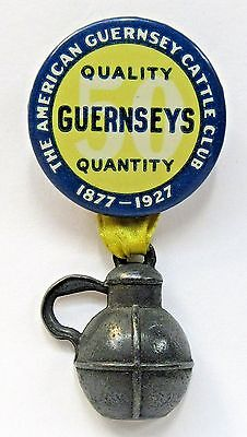 1927 AMERICAN GUERNSEY CATTLE CLUB pinback button w/metal milk jug attachment *